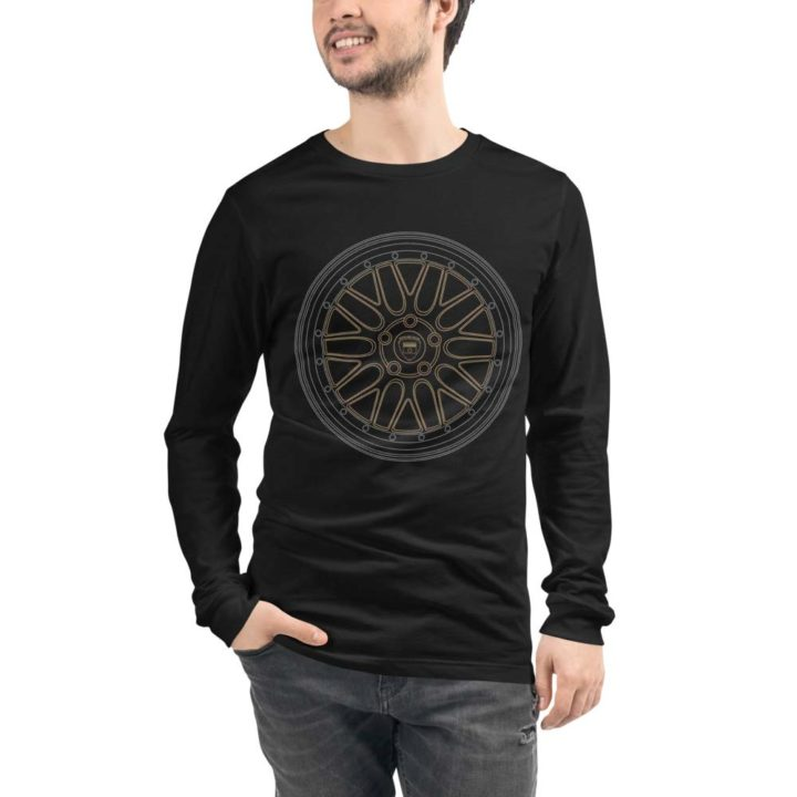 BBS LM wheel long sleeve t-shirt in black with a silver and gold print for sale online at Rotor And Piston