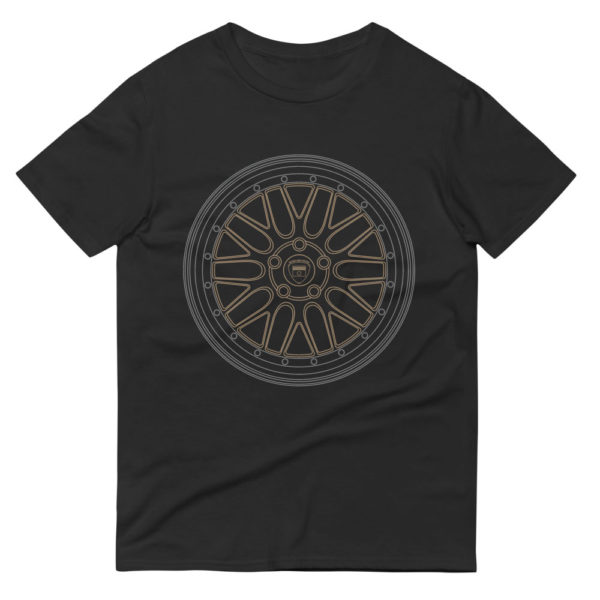 BBS LM wheel t-shirt in black with a silver and gold print for sale online at Rotor And Piston