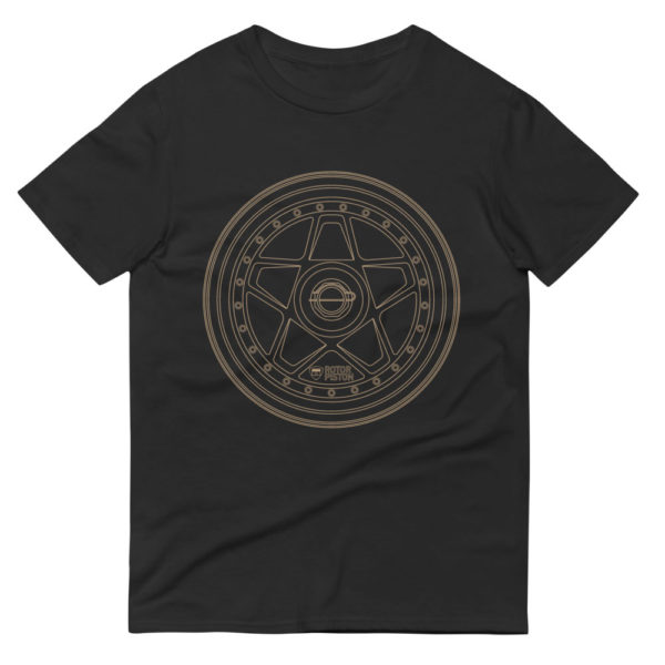 Ferrari F40 wheel t-shirt in black with a gold print for sale online at Rotor And Piston