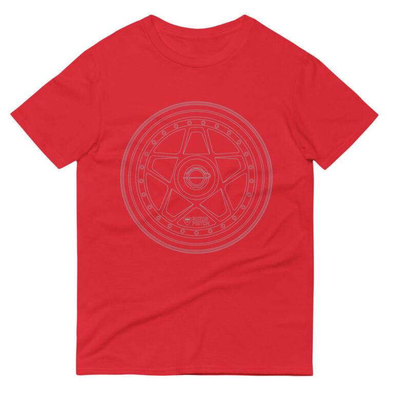 Ferrari F40 wheel t-shirt in red with a silver print for sale online at Rotor And Piston