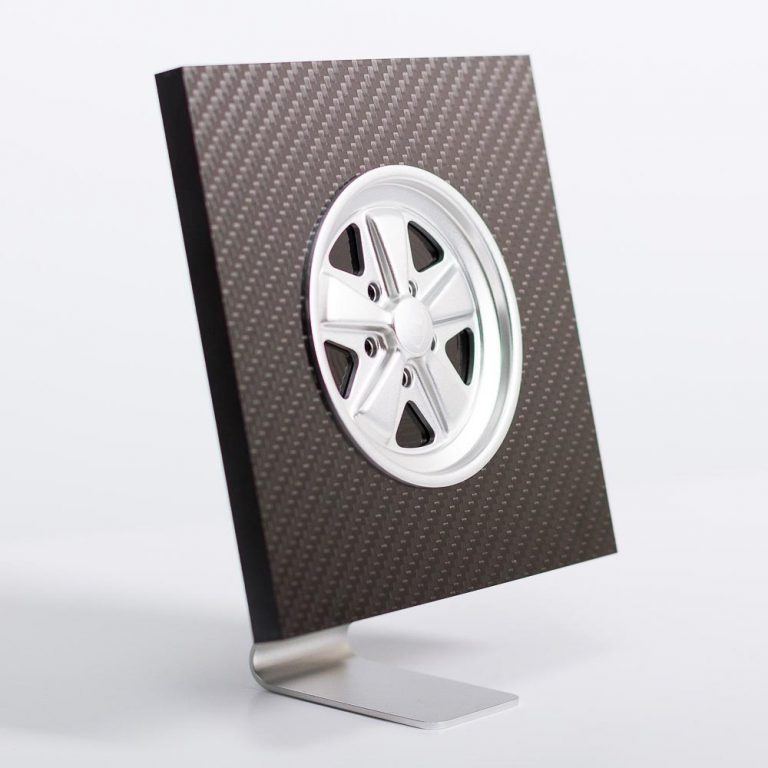 Silver Fuchs inspired wheel in carbon fibre display