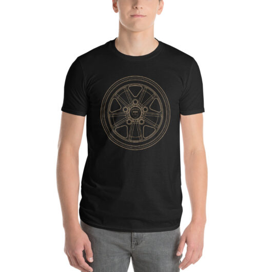 Porsche Fuchs wheel t-shirt in black with a gold print for sale online at Rotor And Piston