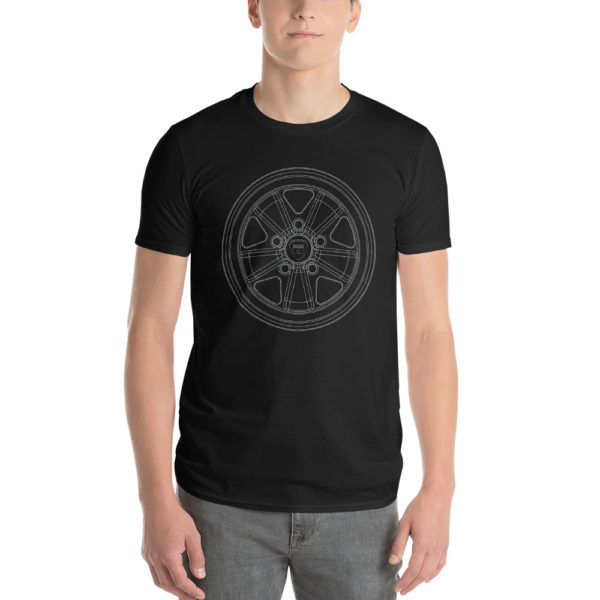 Porsche Fuchs wheel t-shirt in black with a silver print for sale online at Rotor And Piston
