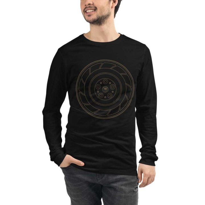Holden HDT Aero wheel long sleeve t-shirt in black with a gold print for sale online at Rotor And Piston