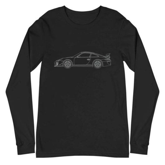 Porsche GT3 RS 4.0 car long sleeve t-shirt in black with a silver print for sale online at Rotor And Piston