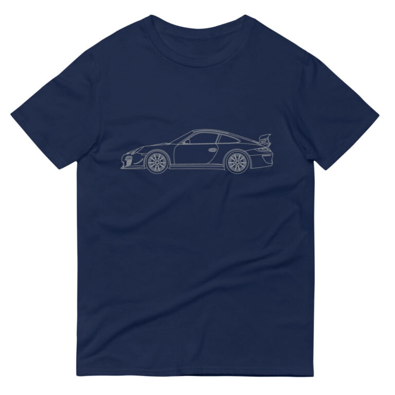 Porsche GT3 RS 4.0 car t-shirt in navy blue with a silver print for sale online at Rotor And Piston
